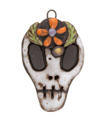 Gaea Ceramic Day of the Dead Skull Daisy Pendant 29-30x47-48mm