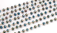 Pacific Blue w/ Metallic Raspberry Gold Crystal 3mm Delicate Brass Bead Chain