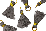 Gray w/ Gold Binding & Jump Ring Thread Tassel 18mm
