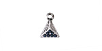 Zola Elements Antique Silver (plated) Beaded Navy Blue Geometric Triangle Charm 10x13mm