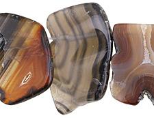 Black Line Agate Freeform Slice Drop w/ Natural Edge 20-45x40-50mm