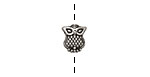 Pewter Funky Owl Bead 9x10mm