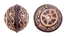 Hand Painted Natural Antique Brown Mandala Leather Round Bead 26-29mm