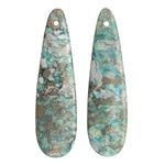 Teal Impression Jasper & Pyrite Thin Teardrop Pendant Pair 12x45mm
