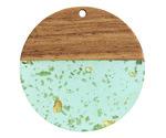Walnut Wood & Beach Glass w/ Gold Foil Resin Coin Focal 38mm