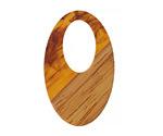 Walnut Wood & Tortoise Shell Swirl Resin Oval Off-Center Hoop Focal 22x35mm