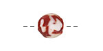 African Recycled Glass Red & White Tumbled Round 10-14mm