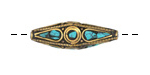 Tibetan Brass Elongated Rice Bead w/ Turquoise Mosaic 41x13mm