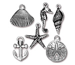 TierraCast Antique Silver (plated) Ocean Charm Set
