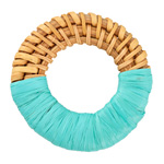 Turquoise Raffia Wrapped Natural Rattan-Style Woven Ring Focal 39-42mm