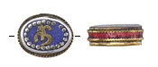 "Tibetan White Brass & Brass ""Om"" Oval Coin Bead w/ Lapis & Coral 22x17mm"