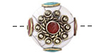 Tibetan White Shell & White Brass w/ Coral Center Coin Bead 25mm