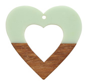 Walnut Wood & Sweet Mint Resin Open Heart Focal 50mm