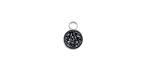 Metallic Jet Crystal Druzy Coin Charm in Silver Finish Bezel 7x9mm