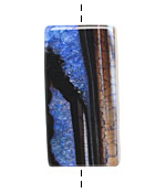 Black & Blue Agate Rectangle Pendant 42-45x22-24mm