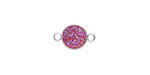 Metallic Hot Pink Crystal Druzy Coin Link in Silver Finish Bezel 14x9mm
