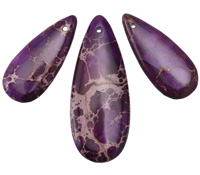Purple Impression Jasper Teardrop Pendant Set 15x35-20x50mm