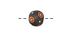 Golem Studio Orange Circles on Dark Carved Ceramic Round Bead 12x14mm