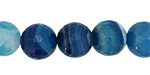 Sky Blue Line Agate Faceted Round 14mm