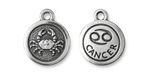 TierraCast Antique Silver (plated) Round Cancer Charm 15x18mm