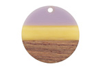Walnut Wood & Lavender Fields Resin Banded Coin Focal 28mm