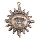 Greek Antique Brass (plated) Sun Face Pendant 40x46mm