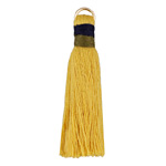 Goldenrod w/ Olive and Navy Binding & Jump Ring Thread Tassel 41mm