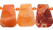Natural Carnelian Cut Slice Drops 18-23x24-27mm
