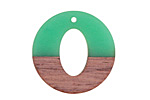 Wood & Leaf Green Resin Open Coin Focal 28mm