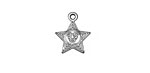 Antique Silver (plated) Starry Eyes Charm 13x16mm