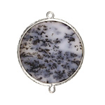 Dendritic Opal Coin Thin Slice w/ Silver Finish Bezel Frame Focal Link 30mm