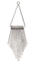Zola Elements Antique Silver Finish Long Flattened Graduated Paddle Set on Triangle Ring 21x80mm