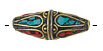 Tibetan Brass Rice Bead w/ Coral & Turquoise Mosaic Petals 35-38x14-15mm