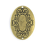 Vintaj Antique Brass (plated) Scrolled Border Oval Blank 26x35mm