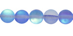 Sapphire Blue Fused Glass AB (matte) Round 10mm