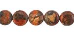 Rustic Orange Jasper Puff Coin 10mm