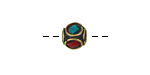 Tibetan Brass Cube Bead w/ Single Ring In Coral & Turquoise Mosaic 8-9mm