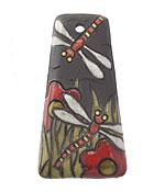 Golem Studio Red Garden Dragonflies Carved Ceramic Pendant 28x52mm
