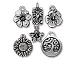 TierraCast Antique Silver (plated) Flowers Charm Set