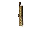 Antique Brass (plated) Textured Bead Tube Crimp End 24mm