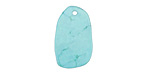 Chinese Turquoise Thin Oval Slice Slice Drops 13-14x21-22mm