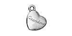 "Antique Silver (plated) ""Grandma"" Heart Charm 15x18.5mm"