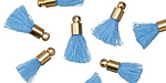 Sky Blue w/ Gold (plated) Bead Cap Tiny Thread Tassel 14mm