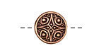 Antique Copper (plated) Compass Rose Button 15mm