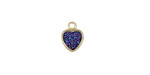 Metallic Indigo Crystal Druzy Heart Charm in Gold Finish Bezel 8x10mm