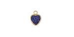 Metallic Indigo Crystal Druzy Heart Charm in Gold Finish Bezel 8x10mm