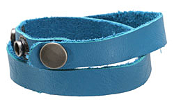 "The Lipstick Ranch Turquoise Leather Cuff Double Wrap Bracelet 1/2"" x 16 1/4"""