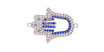 Silver Finish Clear Waters Mix Pave CZ Hamsa Focal Link 25x17mm
