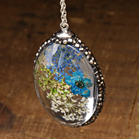 Glass Orb Oval w/ Vintage Mix & Turquoise Flowers and Pave Crystals 25x50mm