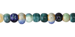 Ocean Mix Porcelain Tumbled Rondelle 5x7mm